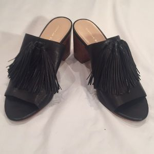 Loeffler Randall leather heeled slides sz 8